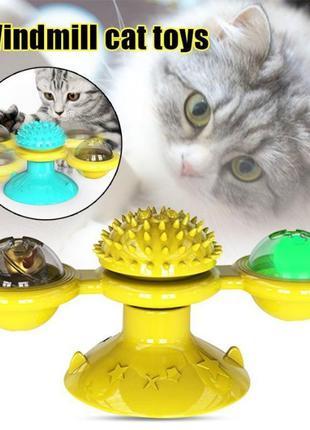 Игрушка для кошек развивающая rotate windmill cat toy зубочистка
