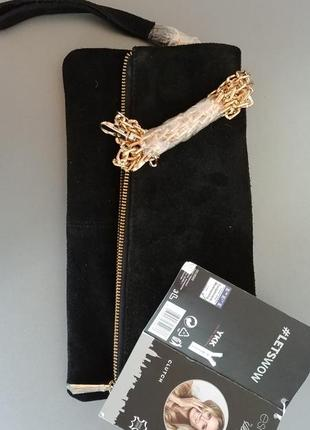 Черная замшевая сумка - клатч натур. кожа