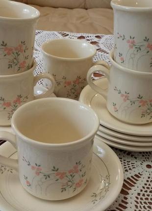 6 прелестных чашек с блюдцами нежнейшего дизайна из англии (пр...