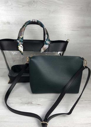 Набор 2в1 сумка и косметичка-клатч черного цвета с силиконом и...