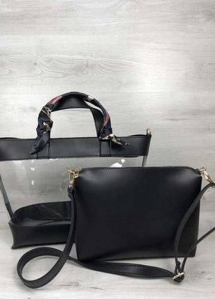 Набор 2в1 прозрачная сумка и косметичка-клатч черного цвета