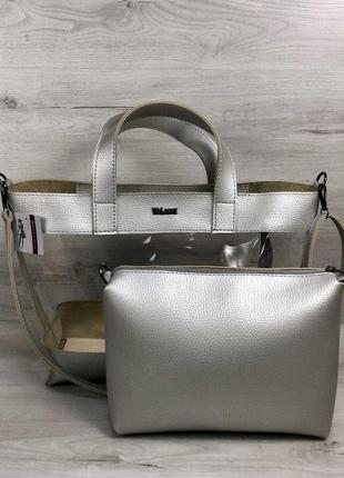 Набор 2в1 прозрачная сумка и косметичка-клатч серебристого цвета