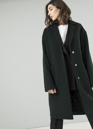 Стильно женское пальто season бутылочного цвета
