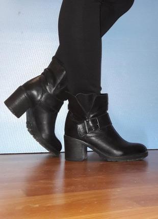 Кожаные сапоги ботинки
