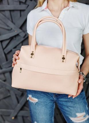 Женская красивая мягкая сумка пудрового цвета