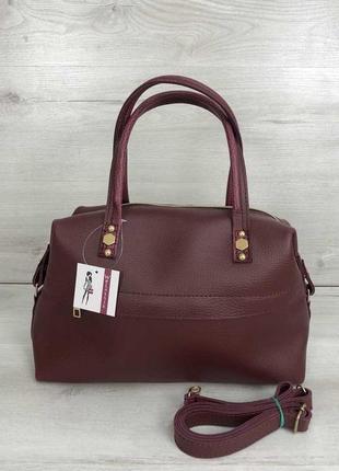 Женская красивая мягкая сумка бордового цвета