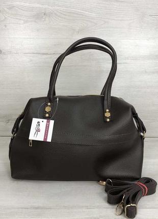 Женская красивая мягкая сумка шоколадного цвета
