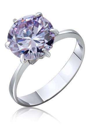 Серебрянное кольцо с большим камнем помолвка