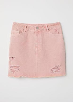 Юбка джинс пудра