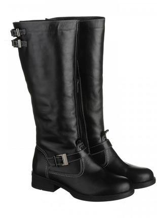 Скидка кожаные зимние черные сапоги низкий каблук натуральная ...