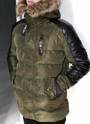 Модная мужской пуховик - длинная хаки куртка