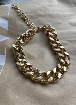 Золотая крупная цепь под золото ожерелье колье цепочка
