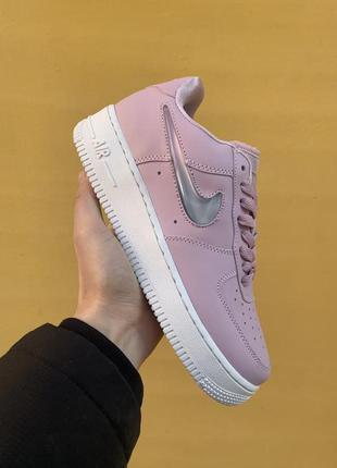 Nike air force 1 pink женские кожаные кроссовки розового цвета