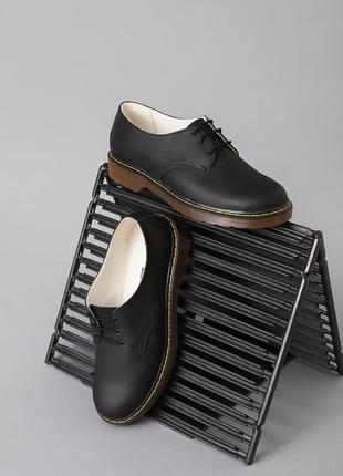 Кожаные мужские черные туфли натуральная кожа