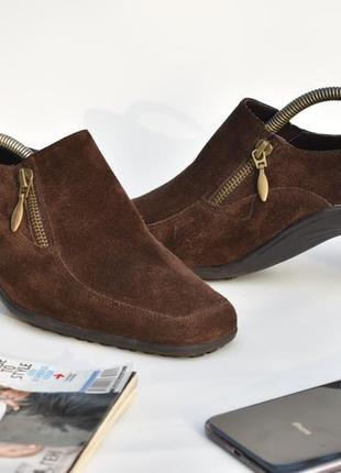 Женские замшевые мягкие туфли коричневые классические кожаные ...