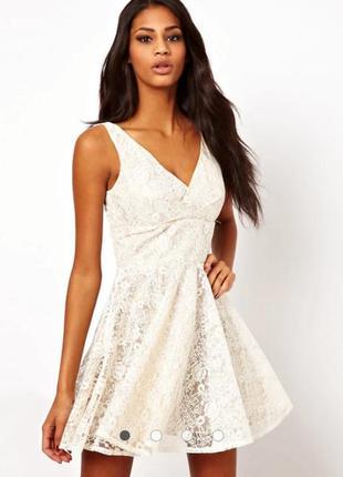 Кремовое короткое ажурное пышная юбка платье elise ryan