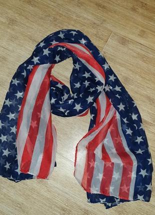 Невесомый шарф,палантин американский флаг, флаг сша