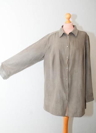 Батал рубашка ветровка с длинным рукавом под замшу большой раз...