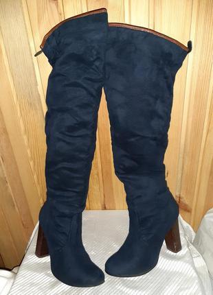 Тёмно-синие высокие деми сапоги ботфорты на каблуке
