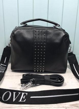 Женская кожаная сумка на два отделения жіноча шкіряна чорна
