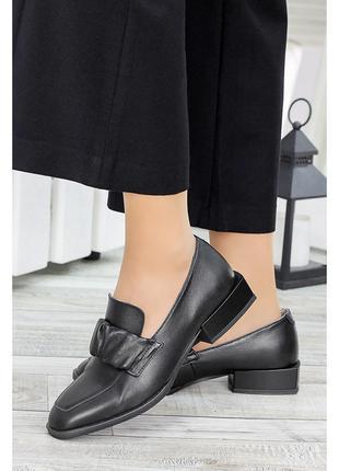 Туфли кожа на низком каблуке