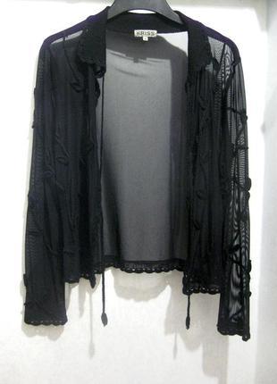 Накидка блуза джемпер kriss чёрная сетка с вышивкой вязаной кр...