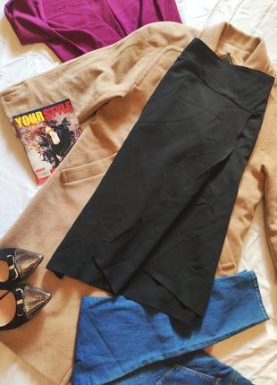 Юбка черная ассиметрия классическая миди