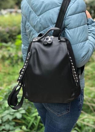 Женский кожаный рюкзак черный жіночий шкіряний ранець чорний