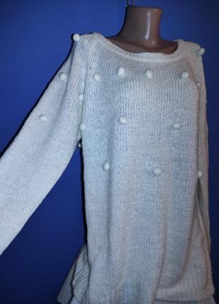 Теплый свитер с помпонами не zara
