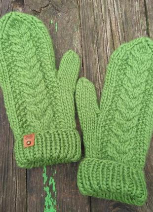 Варежки рукавички вязаные 100% шерсть мериноса теплые зимние