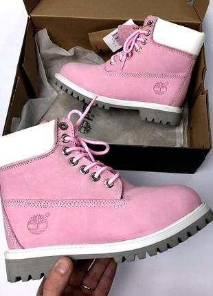 Розовые женские зимние ботинки timberland