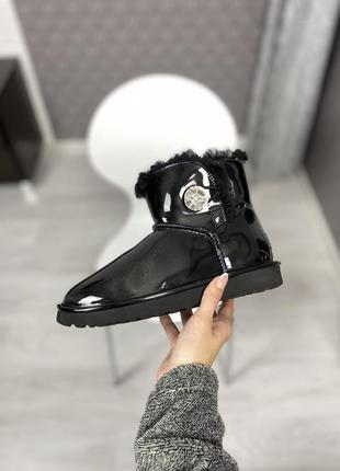 🤩ugg classic short black varnish🤩зимние женские угги, чёрные с...