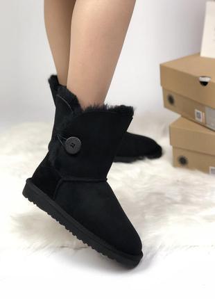 Женские зимние чёрные кожаные угги, ugg уги, сапоги зима