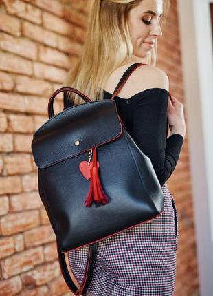 Удобный вместительный сумка-рюкзак с сердечком черного с красн...
