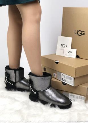 Зимние женские угги ugg silver black кожаные сапоги/уги зима