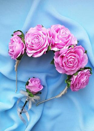Венок ободок на голову с крупными розовыми розами, свадебный в...