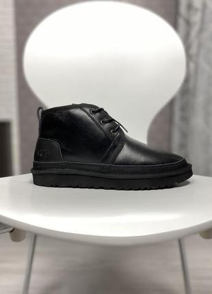 Ugg neumel leather black, зимние мужские чёрные угги/ботинки/уги.