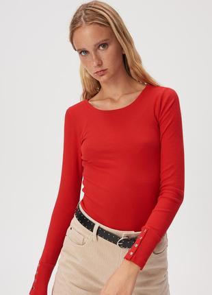 Новая облегающая красная кофта ярко-красный лонгслив алая блуз...