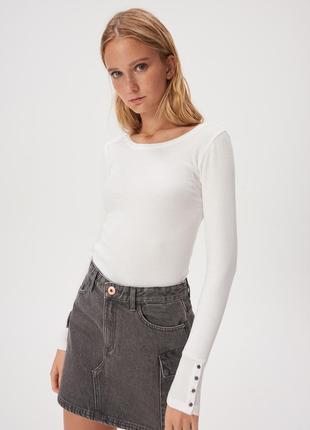 Новая однотонная облегающая белая кофта лонгслив блузка польша...