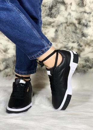 Puma cali black white женские демисезонные кроссовки/кеды пума...