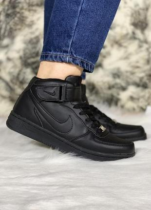 💎зимние nike air force winter black💎женские чёрные кроссовки н...