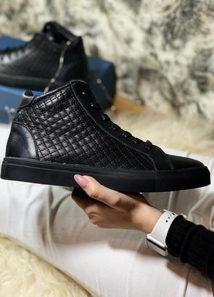 Мужские тёплые ботинки/кроссовки, чёрные кожаные мех.