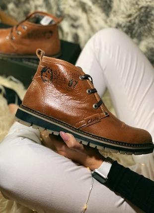Ботинки clarks, кожаные коричневые мужские