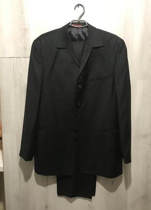 Мужской чёрный классический костюм от bartoloni 080 (50)