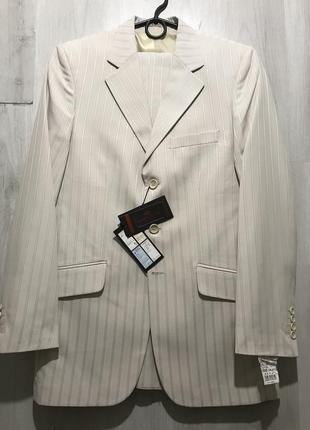 Мужской классический белый костюм calipso в полоску 083 (54)