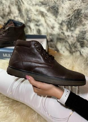 Clarks, коричневые мужские кожаные ботинки с мехом.