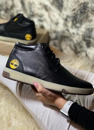Timberland black мужские кожаные ботинки с мехом.