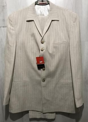 Мужской классический костюм bartoloni на 6 пуговиц в полоску 0...