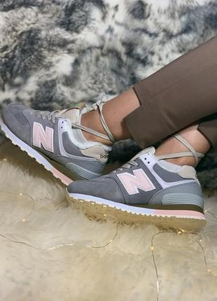 New balance winter grey pink, женские зимние кроссовки нью бел...
