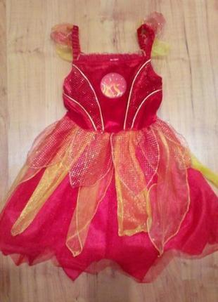 Карнавальный костюм платье огонь, чертёнок на хэллоуин, новый год